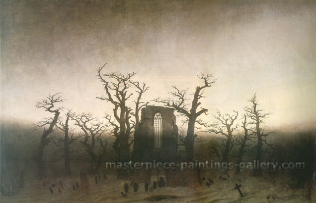Caspar David Friedrich, Abbey in the Oakwoods | Abbey in the Oak Forest | Abtei im Eichwald, 1810, oil on canvas, 21.5 x 33.7 in. / 54.6 x 85.7 cm, US$320