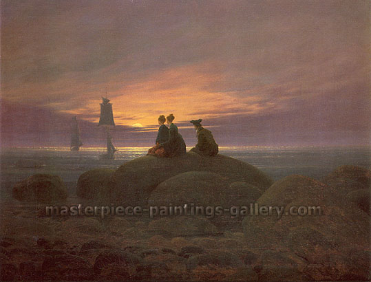 Caspar David Friedrich, Moonrise Over the Sea | Moonrise by the Sea | Mondaufgang am Meer, 1822, oil on canvas 21.6 x 28 in. / 54.9 x  71.1 cm, US$280
