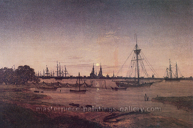 Caspar David Friedrich, Port by Moonlight, 1811, oil on canvas, 24 x 36 in. / 61 x 91.6 cm, US$350