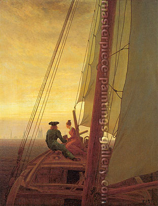 Caspar David Friedrich, On Board a Sailing Ship, oil on canvas, 28 x 22 in. / 71 x 56 cm, US$289