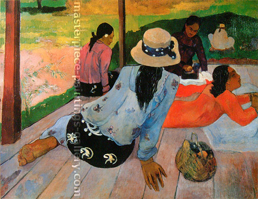 Paul Gauguin, Afternoon Rest | La Sieste | La Siesta | Hulle sur toile | Die Mittagsruhe, 1891, oil on canvas, 34.3 x 45.7 in. / 87 x 116 cm, US$350