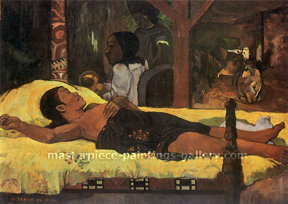Paul Gauguin, Nativity | Te Tamari No Atua, 1896, oil on canvas, 37.8 x 50.4 in. / 96 x 128 cm, US$420