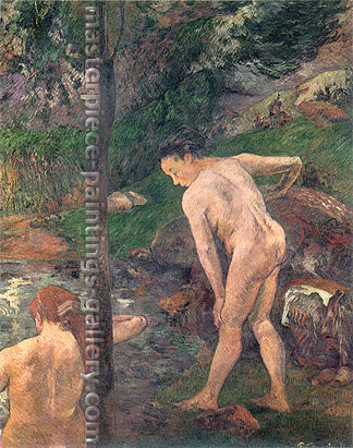 Paul Gauguin, Two Girls Bathing | The Bathers, 1887, oil on canvas, 36.2 x 28.7 in. / 92 x 73 cm, US$340