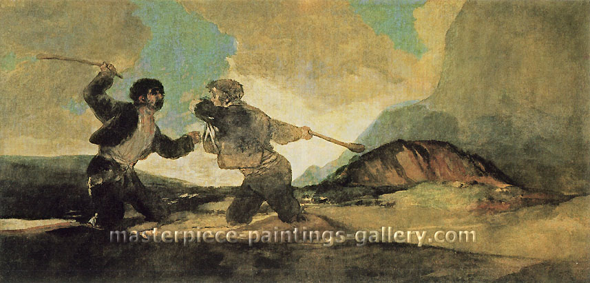 Francisco de Goya, Duelo a Garrotazos | Dual with Clubs, 1820-23, oil on canvas, 29.1 x 62.8 in. / 73.8 x 159.6 cm, US$560