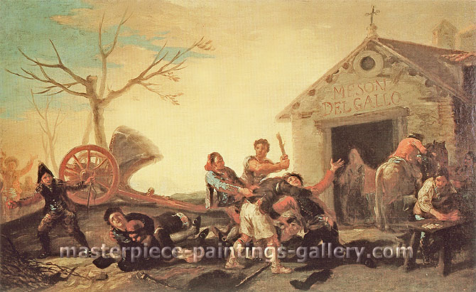 Francisco de Goya, Fight at the Cock Inn | La Rina  en la Meson del Gallo, 1777, oil on canvas, 16.5 x 26.5 in. / 41.9 x 67.3 cm, US$350.