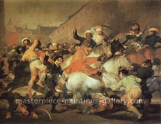 Francisco de Goya, Second of May 1808 at the Puerta del Sol | El 2 Mayo de 1808. en Madrid : la lucha con los mamelucos, 1814, oil on canvas, 47.1 x 61.1 in. / 119.7 x 155.3 cm, US$620