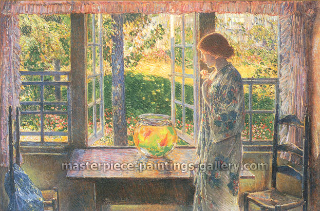 Childe Hassam, The Goldfish Window, 1916, oil on canvas, 33.5 x 49.5 in. / 85.1 x 125.7 cm, US$530