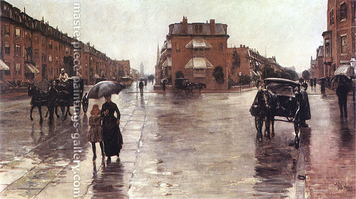 Childe Hassam, Rainy Day in Boston, 1885, oil on canvas, 26.5 x 48.4 in. / 67.3 x 123 cm, US$490
