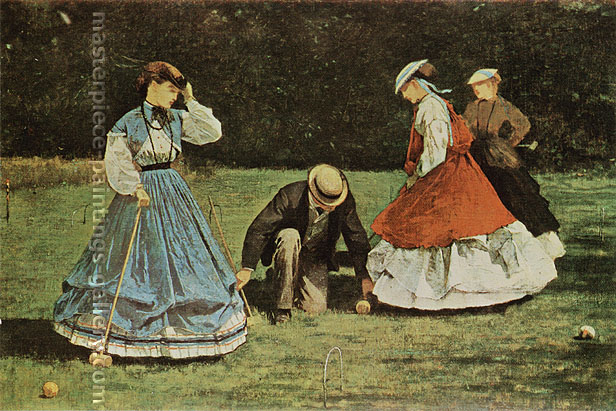 Winslow Homer, Croquet, 1866, oil on canvas, 20.5 x 30.7 in. / 52.1 x 78 cm, US$310