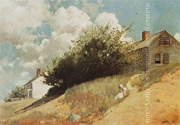 Winslow Homer, Houses on a Hillside, 1879, oil on canvas, 23.6 x 33.8 in. / 60 x 85.7 cm, US$340