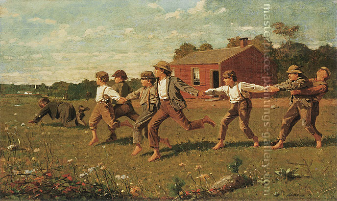 Winslow Homer, Snap the Whip (No Mountain), 1872, oil on canvas, 22 x 36.7 in. / 55.9 x 93.1 cm, US$380
