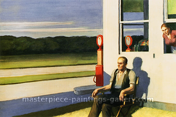 Edward Hopper, Four Lane Road, 1956, oil on canvas, 27.5 x 41.5 in. / 69.8 x 105.4 cm, US$330