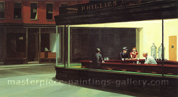 Edward Hopper, Nighthawks | Night Wanderers, 1942, oil on canvas, 30 x 56.7 in. / 76.2 x 144 cm, US$600