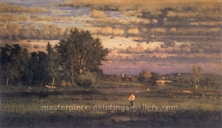 George Inness, Clearing Up, 1860, oil on canvas, 19.8 x 33 in. / 50.4 x 83.9 cm, US$350