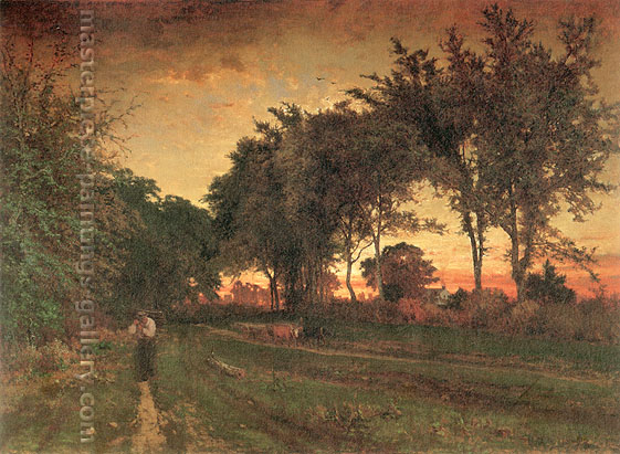 George Inness, Evening Landscape, 1862, oil on canvas, 48.5 x 66.3 in. / 123.2 x 168.3 cm, US$670