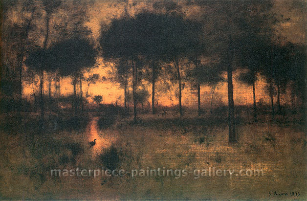 George Inness, The Home of the Heron, 1893, oil on canvas, 30 x 45 in. / 76.2 x 114.3 cm, US$440