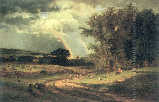 George Inness, A Passing Shower, 1860, oil on canvas, 26 x 40 in. / 66 x 101.6 cm, US$440.