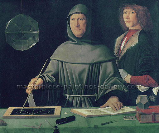 Jacopo de' Barbari, Ritratto di Fra Luca Pacioli | Luca Bartolomes Pacioli | Fra Luca Pacioli Explaining a Theorem to a Young Man | The Portrait of Fra Luca Pacioli, 1495, oil on canvas, 34 x 28.5 in. / 86.4 x 72.3 cm, US$400