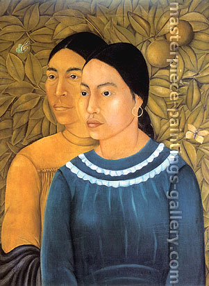 Frida Kahlo, Dos Mujeres | Two Women, 1929, oil on canvas, 27.4 x 21 in. / 69.6 x 53.3 cm, US$280