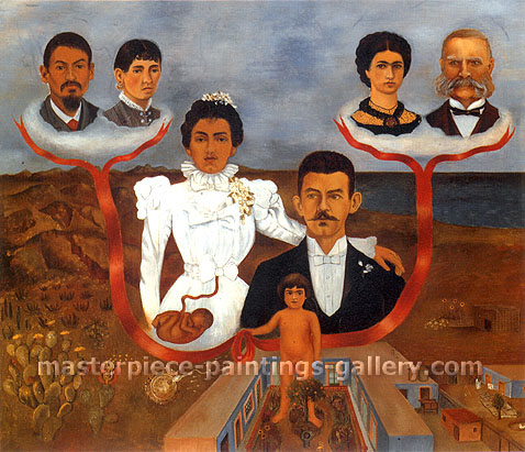 Frida Kahlo, My Grandparents, My Parents and I, 1936, oil on canvas, 31.2 x 27.1 in. / 79.2 x 68.8 cm, US$280