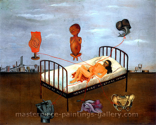 Frida Kahlo, Henry Ford Hospital | The Flying Bed, 1932, oil on canvas, 30 x 37.4 in. / 76.3 x 95 cm, US$280