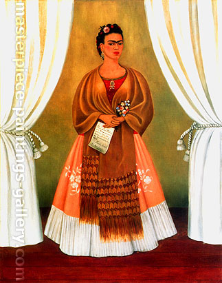 Frida Kahlo, Self-Portrait dedicated to Leon Trotsky | Between the Curtains, 1937, oil on canvas, 30 x 24 in. / 76.2 x 60.1 cm, US$350