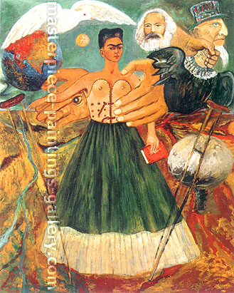 Frida Kahlo, Marxism Will Give Health to the Sick, 1954, oil on canvas, 28.8 x 23.8 in. / 73 x 60 cm, US$290