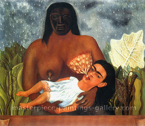 Frida Kahlo, My Nurse and I | I suckle, 1937, oil on canvas, 31.2 x 35.8 in. / 79.3 x 91 cm, US$270