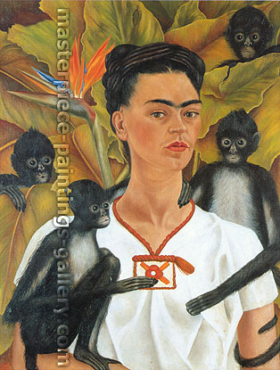 Frida Kahlo, Self-Portrait with Monkeys, 1943, oil on canvas, 32 x 24.8 in. / 81.5 x 63 cm, US$330