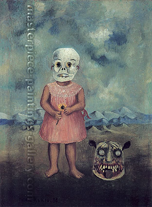 Frida Kahlo, Girl with a Death-Mask, 1938, oil on canvas, 31.5 x 23.5 in. / 80 x 59.6 cm, US$320