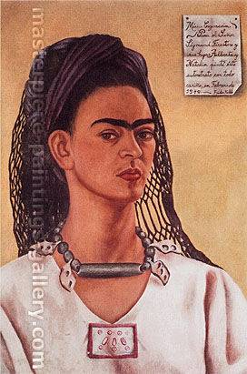 Frida Kahlo, Self-Portrait Dedicated to Sigmund Firestone, 1940, oil on canvas, 24 x 16.9 in. / 61 x 43 cm, US$265