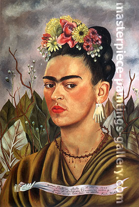 Frida Kahlo, Self-portrait dedicated to Dr. Eolesser, 1940, oil on canvas, 24 x 16.1 in / 61 x 41 cm, US$280