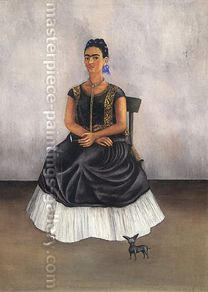Frida Kahlo, Self-portrait with Itzcuintli Dog | Itzcuintli Dog with Me, 1938, oil on canvas, 29.5 x 21.8 in. / 74.9 x 55.2 cm, US$330