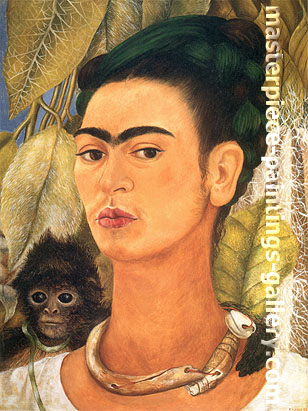 Frida Kahlo, Self-portrait with Monkey, 1938, oil on canvas, 24 x 18 in / 61 x 45.8 cm, US$290