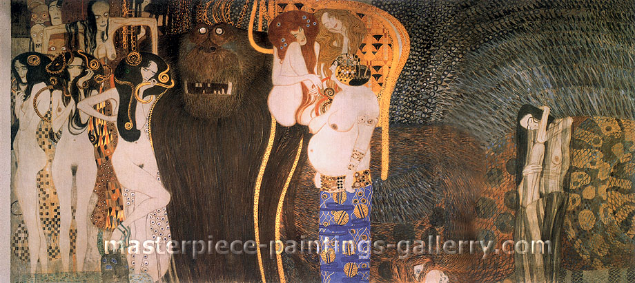 Gustav Klimt, Beethoven Frieze (all), 1902, oil on canvas, 57.5 x 25.7 in. / 146.1 x 65.3 cm, US$900