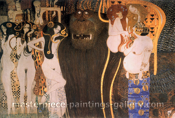 Gustav Klimt, Beethoven Frieze (left), 1902, oil on canvas, 38.1 x 25.7 in. / 96.7 x 65.3 cm, US$500