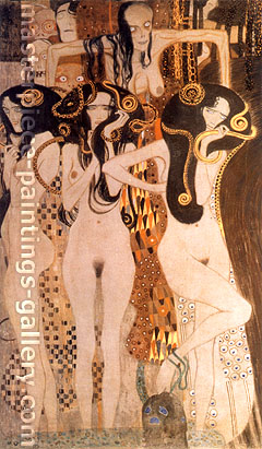 Gustav Klimt, Beethoven Frieze (far left detail), 1902, oil on canvas, 23.6 x 41.1 in. / 60 x 104.4 cm, US$575