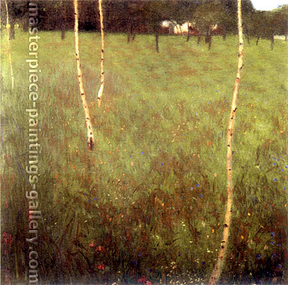 Gustav Klimt, Farmhouse with Birch Trees | Bauernhaus mit Birken, 1900, oil on canvas, 31.5 x 31.5 in. / 80 x 80 cm, US$440