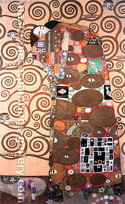 Gustav Klimt, Fulfillment, pattern for the Stoclet Frieze | Erfullung, 1905-09, oil on canvas, 20.9 x 34.6 in. / 53.2 x 88 cm, US$480