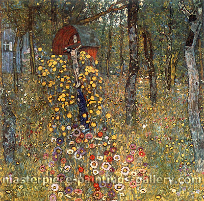 Gustav Klimt, Farm Garden with Crucifix | Bauerngarten mit Kruzifix, 1911-12, oil on canvas, 43.3 x 43.3 in. / 110 x 110 cm, US$610