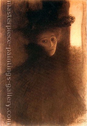 Gustav Klimt, Lady with Cape and hat, Three-Quarter View from the Right, 1897-98, oil on canvas, 17.7 x 12.6 in. / 45 x 32 cm, US$330