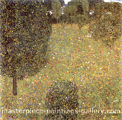 Gustav Klimt, Landscape Garden | Meadow in Flower | Gartenlandschaft (Bluhende Wiese), 1906, oil on canvas, 43.3 x 43.3 in. / 110 x 110 cm, US$610