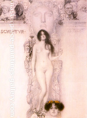 Gustav Klimt, Finished Drawing for the Allgory Sculpture, 1896, oil on canvas, 16.5 x 12.2 in. / 42 x 31 cm, US$255