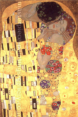 Gustav Klimt, The Kiss (Detail 1), 1907, oil on canvas, 36 x 24 in. / 91.4 x 61 cm, US$460