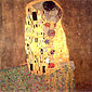 Gustav Klimt, The Kiss, 1907, oil on canvas, 70.9 x 70.9 in. / 180 x 180 cm, US$945