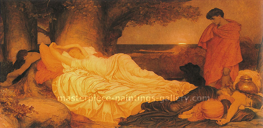 Lord Frederic Leighton, Cymon and Iphigenia, 1884, oil on canvas, 32 x 64.5 in. / 81.3 x 163.8 cm, US$820