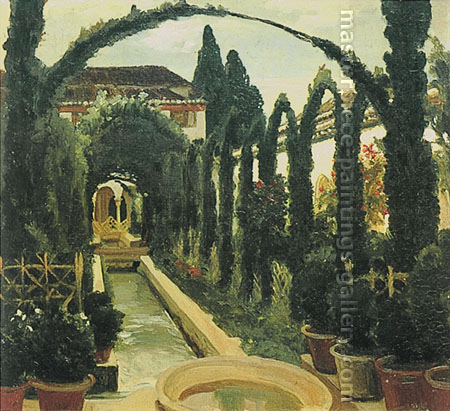 Lord Frederic Leighton, Garden of Generalife, 1870, oil on canvas, 21.3 x 22.8 in. / 54 x 58 cm,US$290