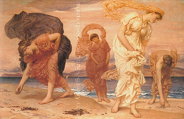 Lord Frederic Leighton, Greek Girls picking up Pebbles by the Sea, 1871, oil on canvas, 33.1 x 51 in. /  84 x 129.5 cm, US$650