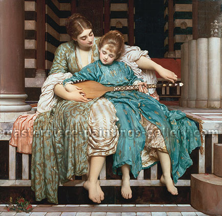 Lord Frederic Leighton, Music Lesson, 1877, oil on canvas, 39.8 x 40.9 in. / 101 x 104 cm, US$570