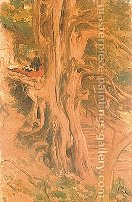 Lord Frederic Leighton, Trees at Cliveden, , oil on canvas, 23.7 x 14.7 in. / 60.2 x 37.2 cm, US$300